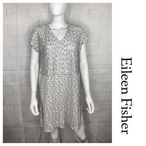 Eileen Fisher Organic Linen Tunic White Black Sm